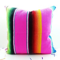 Tribal Pillow Cover 18X18 Inch, Aztec Mexican Cushion, Ethnic Pink Throw Boho Chic Decor