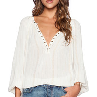 AMUSE SOCIETY Caden Woven Top in Ivory