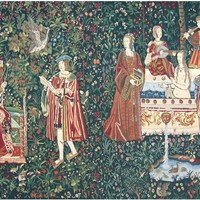 Bath and Reading in the Garden Tapestry Wall Art Hanging