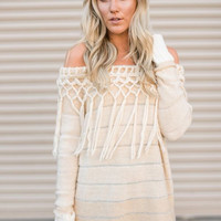 Knitted Fringed Tunic Sweater