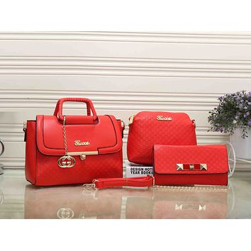 Gucci Women Fashion Leather Satchel Tote Shoulder Bag Crossbody Wallet Three Piece Suit