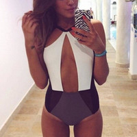 2016 Women Bandage Bikini Black white patchwork bikini bandage hollow out swimwear push up swimsuit bathing suit 04-012 = 1956365572