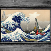 Legend of Zelda Windwaker The Great Wave of Kanagawa Art Print Poster