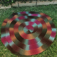 Knit Baby Blanket, Round Throw, Spiral Lapghan, Baby Play Mat, Bedding, Multi Color, Rainbow