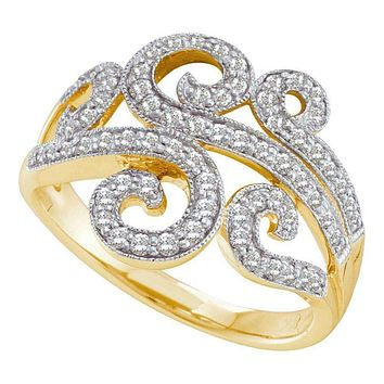 14kt Yellow Gold Women's Round Diamond Curled Swirl Fashion Band Ring 1/2 Cttw - FREE Shipping (US/CAN)