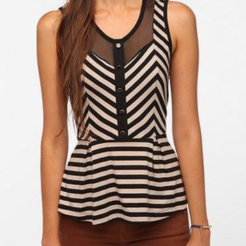 Pins and Needles Stripes and Mesh Peplum Tank Top