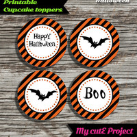 """Happy Halloween - Cupcake toppers - Instant Download - Party printable - Party favor - Candy Bar - 5 cm / 2"""""""