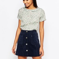 Poppy Lux Vander Top With Collar In Floral Print