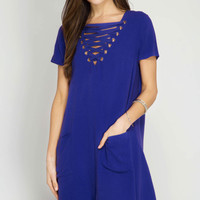 Lace-Up Shift Dress with Pockets