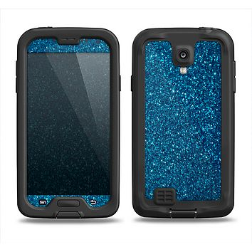 The Blue Sparkly Glitter Ultra Metallic Samsung Galaxy S4 LifeProof Fre Case Skin Set