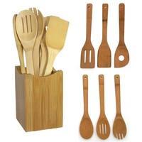 Wooden Bamboo Spatula Mixing Utensil Spoon Set