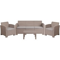 Contemporary Curved Outdoor Seating Set - Light Gray