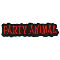 """Embroidered Iron On Patch - Party Animal 4"""" x 1"""" Biker Patch"""