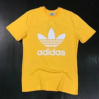 Adidas Fashion Women Men Simple Print Short Sleeve Cotton T-Shirt Pullover Top Yellow I-XMCP-YC