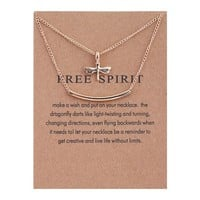Double Dragonfly Card Alloy Clavicle Pendant Necklace   171211
