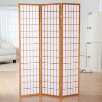 3-Panel Wood & Rice Paper Room Divider Shoji Screen in Natural White