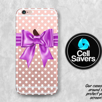 Purple Bow Clear iPhone 6s Case iPhone 6 Case iPhone 6 Plus Case iPhone 6s Plus iPhone 5c Case iPhone 5 Clear Case Polka Dot Pattern Cute