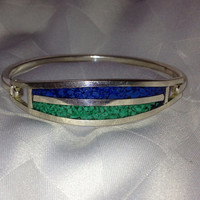 Turquoise Lapis Sterling Bracelet Inlay Blue Green 925 Silver Bangle Hecho En Mexico Mexican Vintage Jewelry Holdiay Christmas Xmas Gift