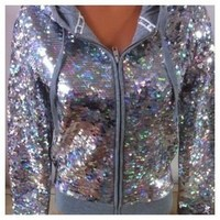 VICTORIA'S SECRET PINK SEQUIN HOODIE BLING JACKET LOVE PINK FASHION SHOW SMALL(966)