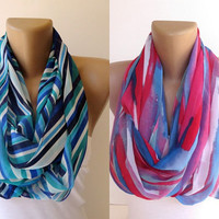 2 infinity loop women scarves,chevron scarf,neon colors,pink purple blue white ,colorful,trendy scarves