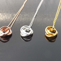 Ring infinity necklace -Three ring necklace -All sterling silver,gold filled,rose gold filled-Bridesmaids,bestfriend,Wife,Girlfriend Gift