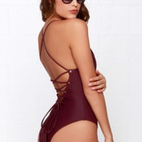 Mandalynn Nicole Lace-Up Burgundy One Piece Swimsuit