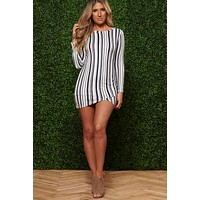 No One Like You Striped Dress (Ivory/Navy)