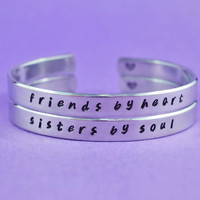 friends by heart / sisters by soul - Hand Stamped Aluminum Cuff Bracelets Set, Handwritten Font-*Forever Love, Friendship, BFF, V2