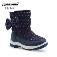 Apakowa Girls Snow Boots Children's Fashion Mid-Calf Woolen Lining Winter Boots for Little Girl Kid Sleet Weather Shoes with Bow