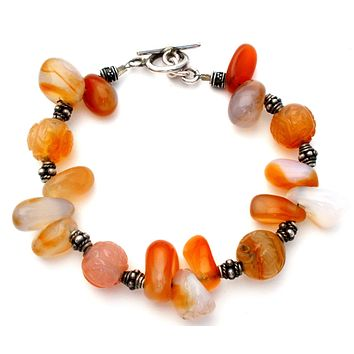 Sterling Silver Bracelet with Agate Beads Vintage
