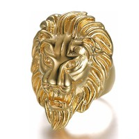 Titanium / stainless steel hip hop lion head ring handmade fashion jewelry best friends High-quality Promotion men rings G0008
