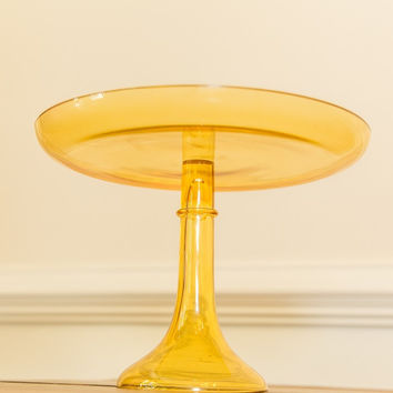 Estelle Glass Cake Stand  {Amber Yellow}