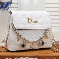 Christian Dior solid color sewing thread flap shoulder bag chain crossbody bag White