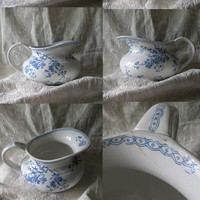 French antique transferware ironstone pitcher - Gien squat jug - squat pitcher - blue transferware - ironstone pitcher - cottage chic