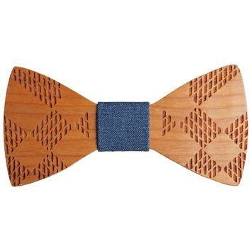 Wooden Engraved Design Bow Tie w Jean Fabric Material (options avail)