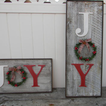 Rustic Joy sign, Country Christmas decor, Christmas mantle decor, Barn wood look Christmas sign