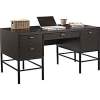 Altra™ Stratton Double Pedestal Desk, Chocolate Oak