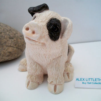 Stone Critter pig, black and white pig figurine, pig figurine