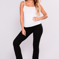 Everyday Basic Yoga Foldover Pants - Black