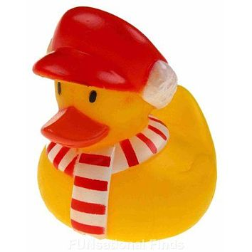 Set 12 Christmas Scarf Rubber Ducks Duckie Party Favors Cake Toppers Dozen NEW