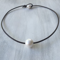 Brown Leather freshwater pearl necklace, pearl necklace, leather and pearls, pearls on leather, pearl and leather choker