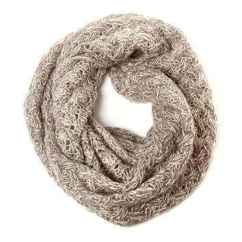 Light Gray with Silver Metallic Thread Soft Criss Cross Knit Infinity Scarf