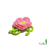 Set 5 Pink crochet flowers for various applications in cotton - Set 5 fiori rosa per applicazioni varie all'uncinetto
