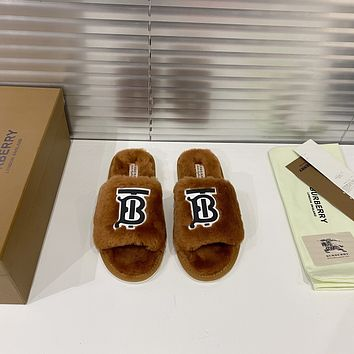 Burberry2021  Fashion New Home Flat-bottomed Warm Cotton And Wool Slippers Shoes09110wk