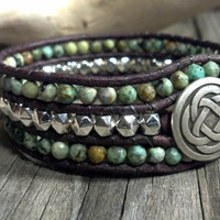 Southwest Chic African Turquoise Beaded Leather Cuff Bracelet, Beaded Leather Wrap Bracelet, Gemstone Bracelet,, Mothers Day Gift