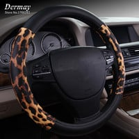 Personalized Leopard Print Steering Wheel Cover