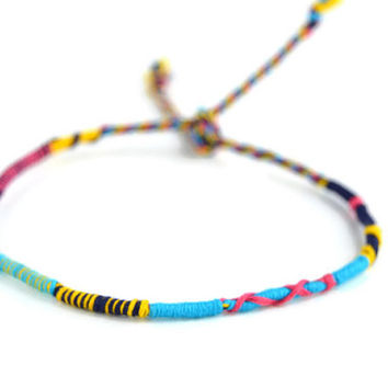 Bright Colored Friendship Bracelet and Anklet, Yellow Blue and Pink Wanderlust Friendship Anklets