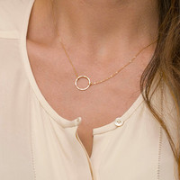 Dainty Circle Necklace / Karma Necklace, 14k Gold Fill or Sterling Silver, Delicate Chain / Dainty Circle Outline LN321