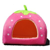 Strawberry Cotton Soft Small Dog Cat Pet Bed House S/M/L/XL (Pink, S)