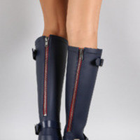 Women's Buckle Contrast Zipper Knee High Rain Boot